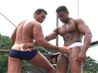 Muscle Studs Alex and Renzo Suck and Fuck Outdoors