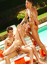 Poolside Twink Threesome