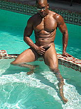 Black Stud Poses Poolside